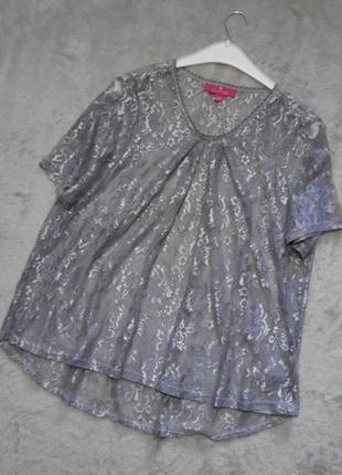 Нарядная ажурная блузка с серебристым напылением напылением ра...