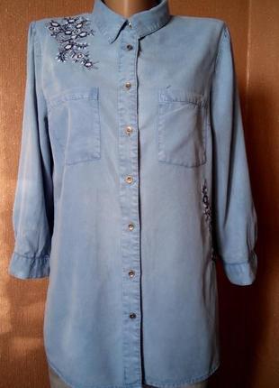 Котоновая рубашка с вышивкой размер 10-12 tu