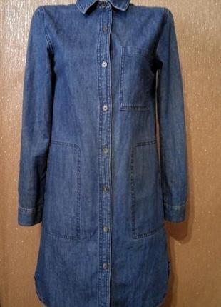 Джинсовое платье рубашка с боковыми карманами размер 6-8 forev...