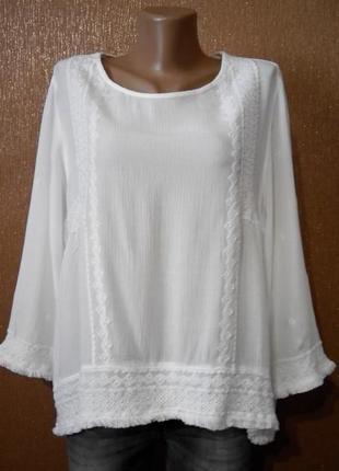 Блузка с вышивкой,бахромой  размер 16 new look