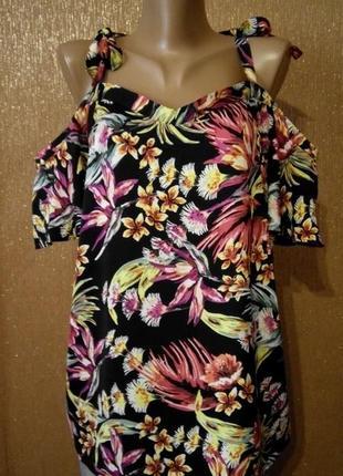 Блузка с открытыми плечами в яркий цветочный принт размер 16-1...