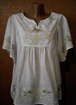 Блузка белая с вышивкой цвет виноградной лозы dickins&jones ра...