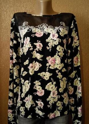 Блузка-рубашка по спине в цветочный принт размер 14 river island