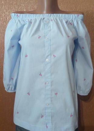 Блузка на плечи в полоску принт розовый фламинго atmosphere ра...