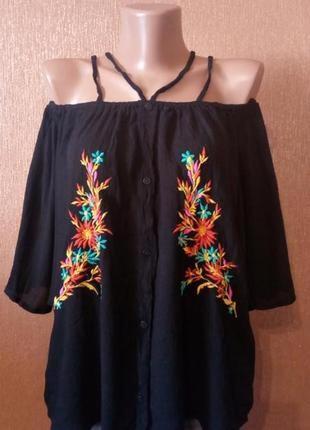 Блузка с открытыми плечами вышивка размер 10-12 select