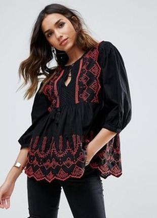 Блузка с вышивкой прошва river island размер 10