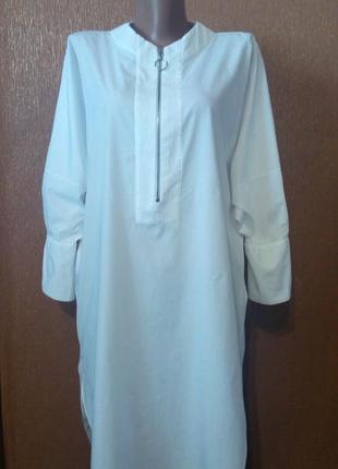 Платье белое свободное стиль оверсайз zara размер 6-8