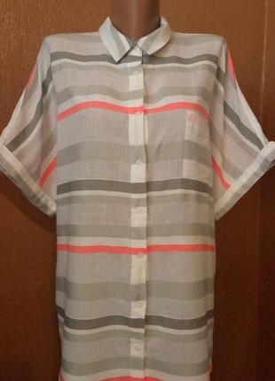 Летняя яркая рубашка в полоску не принт свободный стиль оверса...