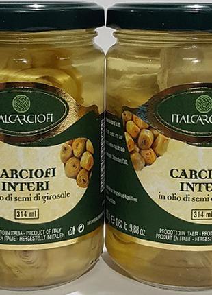 Артишоки цілі в оливковій олії, 314 мл, Італія.