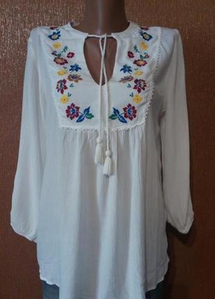 Блузка белая с вышивкой размер 12-14 f&f