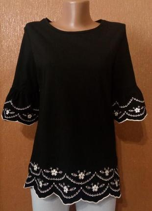 Блузка футболка с воланами на рукавах вышивка размер 10 doroth...