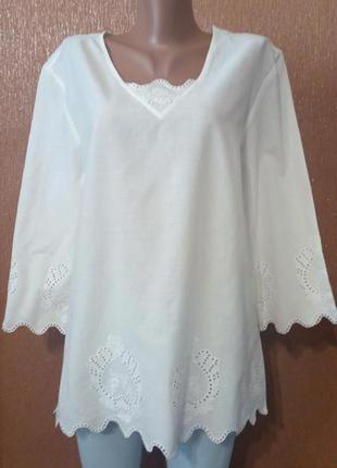 Блузка летняя прошва размер 14-16