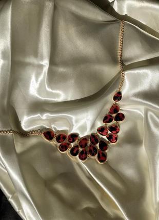 Шикарное колье в золоте золотое ожерелье подвеска с красными к...