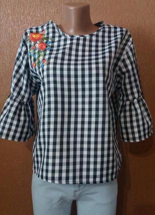 Блузка в клетку с вышивкой размер 10-12