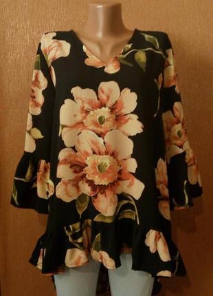 Шикарная блузка,туника bonmarche в цветочный принт,воланами ра...