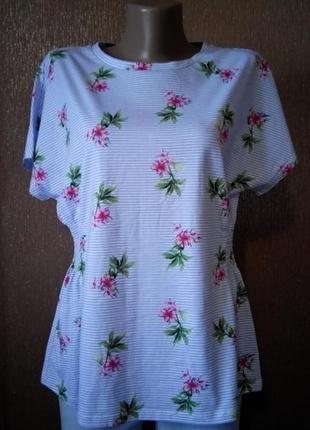 Блузка в мелкую полоску,цветы лимитированная коллекция размер ...