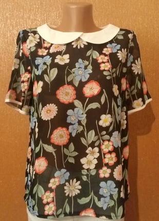 Летняя полупрозрачная блузка принт цветы размер 10-12 atmosphere