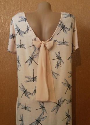 Блузка с завязками на спине принт стрекоза  размер 14 next