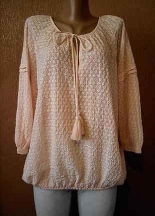 Блузка свободная с ажурной вышивкой прошва размер 12-14 marks&...