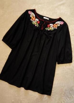 Летняя,чёрная блузка с вышивкой размер 14-16 george