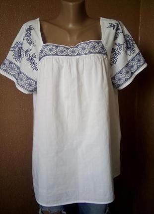 Летняя хлопковая блузка с вышивкой размер 16-18 tu