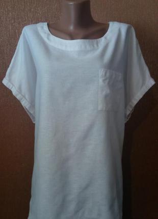 Блузка льняная 55% лён с накладным карманом размер 24 bonmarche