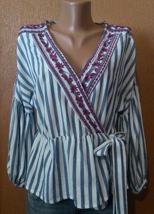 Блузка на запах в полоску с вышивкой размер 8 new look