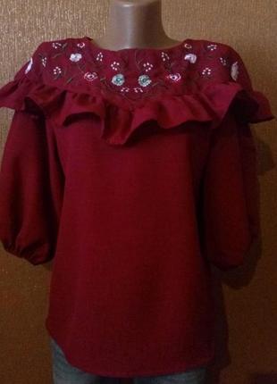 Нарядная блузка с вышивкой и рюшей ,объёмный рукав размер 8