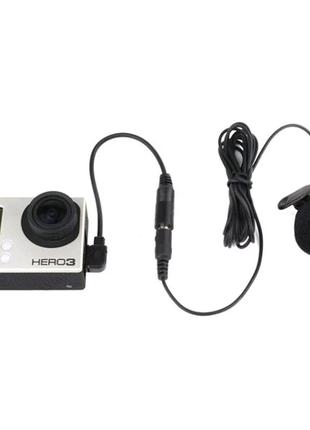 Мікрофон петличний, микрофон петличка+адаптер для GoPro Hero 3, 3