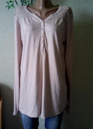 Трикотажная пудровая блузка-туника размер 12-14 flame