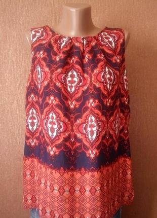 Блузка рубашка по спине орнамент принт размер 12  dorothy perkins