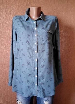 Рубашка принт птички размер 10-12  marks & spencer