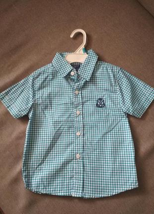 Нарядная рубашка в клетку sahara club (сша) мальчику на 3-4 го...