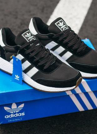 Adidas iniki black\white мужские стильные кроссовки