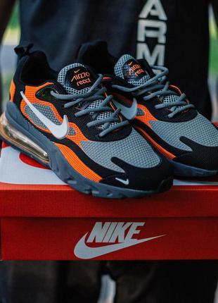 Nike air max 270 react  black red мужские стильные кроссовки