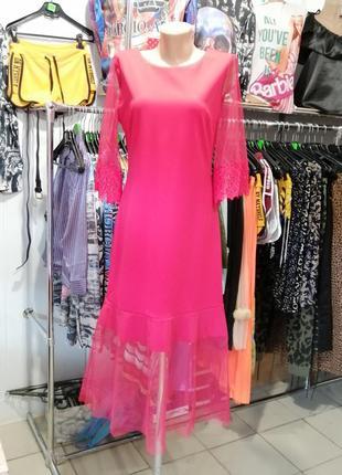 Платье миди с кружевом и фатином евро сетка