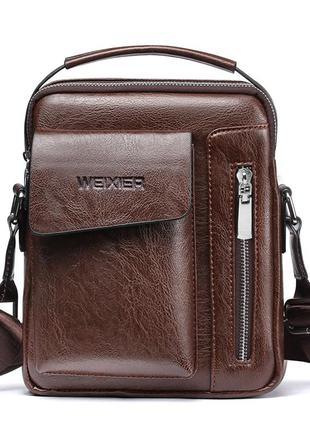 Мужская повседневная сумка барсетка через плечо из pu кожи с р...