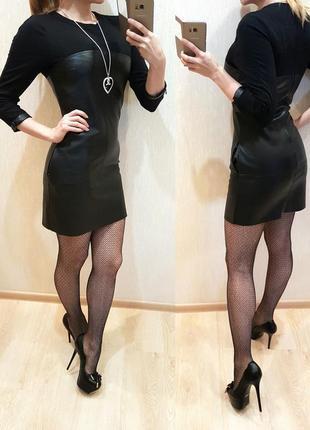 Эко-кожа платье 6-8р topshop
