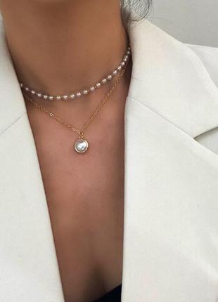Двойная цепочка жемчужное ожерелье серебристого цвета