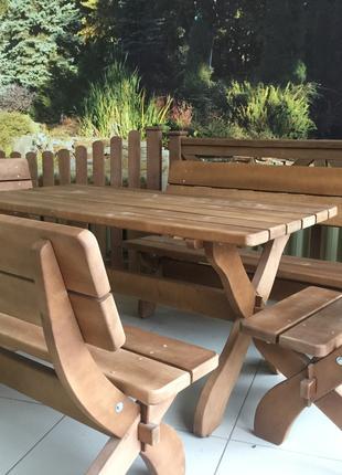 Стол деревянный.Скамья, лавка деревянная.Комплект садовой мебели.