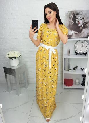 Женское платье в пол натуральный штапель