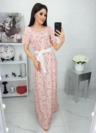 Женское длинное платье  натуральный штапель