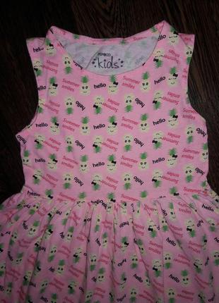 Летнее платье -майка на 3-4 года с веселыми ананасами