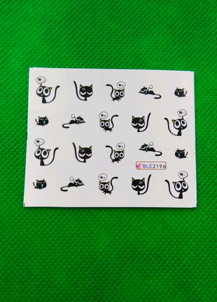 Водные наклейки для маникюра котики Наліпки для манікюру котики