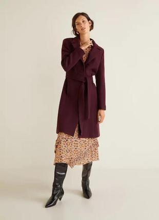 Пальто шерсть цвет хит марсала премиум от манго пальто mango а...