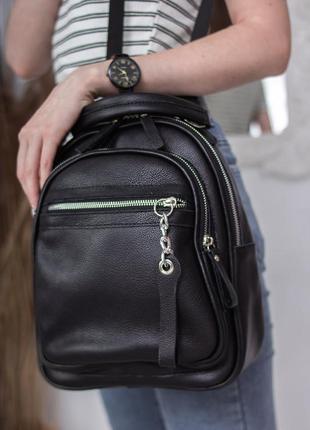 Женский черный рюкзак натуральная кожа, сумка на плече