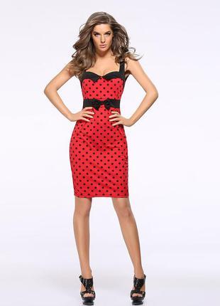 Красное мини платье карандаш в черный горошек 44-46 размер