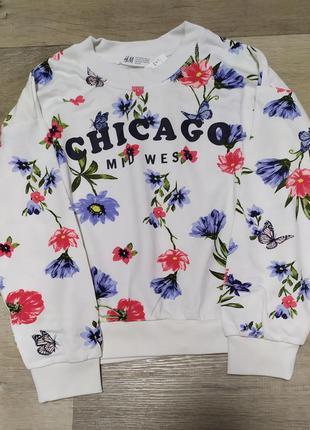 Стильный цветочный свитшот h&m