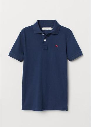 Стильное тёмно-синиее поло футболка тенниска h&m мальчикам 10-...