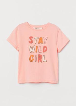 Красивая персиковая футболка топ h&m текстовый принт 4-6,6-8и ...